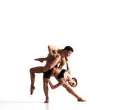 Couple of sporty ballet dancers in art performance Stock Photography