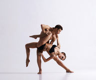 Couple of sporty ballet dancers in art performance Stock Photo
