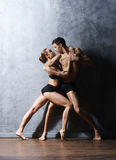 Couple of sporty ballet dancers in art performance. Royalty Free Stock Photo