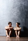 Couple of sporty ballet dancers in art performance. Royalty Free Stock Image