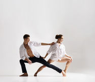 Couple of sporty ballet dancers in art performance. Stock Photography