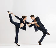 Couple of sporty ballet dancers performing Royalty Free Stock Photo