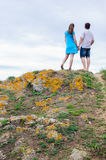 Couple stand on the hill Stock Images
