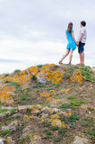 Couple stand on the hill Royalty Free Stock Photography