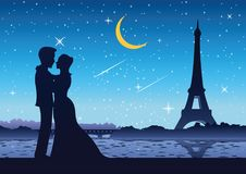 Couple stand near river at Eifel tower France,silhouette style vector illustration