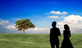 Couple stand there with nice background Royalty Free Stock Photography
