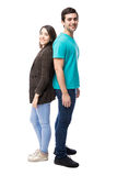 Couple standing against white background Stock Images