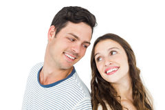 Couple standing back to back. On white background Royalty Free Stock Photo