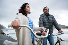 Couple standing with bicycle on beach Royalty Free Stock Photo