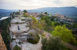 Couple standing on cliff near old village Siurana Royalty Free Stock Images
