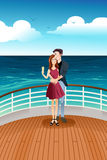 Couple Standing on Deck. A vector illustration of romantic couple standing on deck of yacht Stock Photo