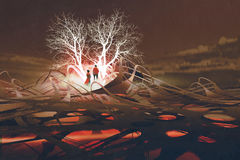 The couple standing in front of glowing trees. In abstact landscape with digital art style, illustration painting Stock Images