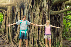 Couple standing in front of incredible banyan tree Stock Photos