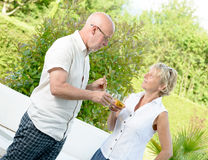 A couple standing with a glass in hand Royalty Free Stock Images
