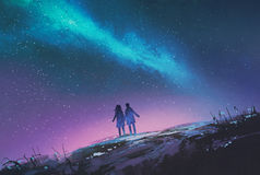Couple standing looking Milky Way galaxy. Young couple standing holding hands against the Milky Way galaxy,illustration painting stock illustration
