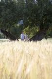 Couple standing next to tree in rural field royalty free stock image