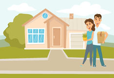 Couple standing outside new home Vector Illustration