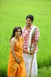 Couple standing in a paddy field Royalty Free Stock Image