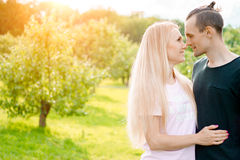 Couple standing in park and hugging royalty free stock images