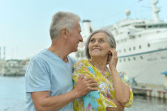 Couple standing on pier Royalty Free Stock Photography
