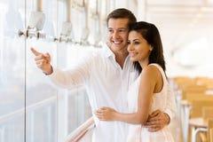 Couple standing restaurant Stock Image