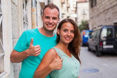 A couple standing on the street and having fun. Positive emotion Stock Photo