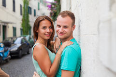 A couple standing on the street and having fun. Positive emotion Royalty Free Stock Photography