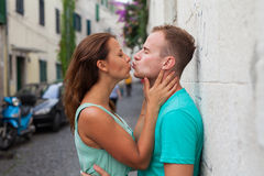 A couple standing on the street and having fun. Positive emotion Royalty Free Stock Images