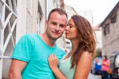 A couple standing on the street and having fun. Positive emotion Stock Photos