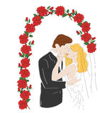 Couple standing under the wedding arch on the wedding day. vector illustration Royalty Free Stock Image