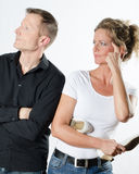 Couple standing up and arguing Stock Images