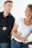 Couple standing up  and arguing Stock Photography