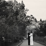 Couple stands on the path in the park Royalty Free Stock Images