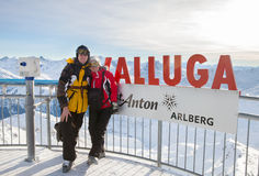 The couple stands on sightseeing platform at Valluga, Austria Stock Images