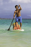 Couple on standup paddle board Royalty Free Stock Photography