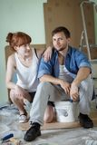 Couple is starting a redecoration Royalty Free Stock Image