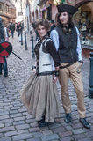 Couple with steam punk costume at the steam punk exhibition in Kaysersberg village royalty free stock images