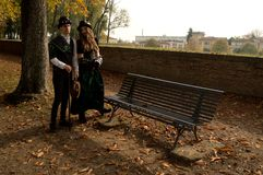 Steampunk couple at Lucca Comics and Games 2017. A couple with steampunk / victorian costumes during the Lucca Comics and Games 2017 festival Royalty Free Stock Photos