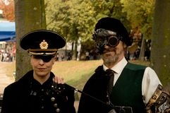 Steampunk couple at Lucca Comics and Games 2017. A couple with steampunk / victorian costumes during the Lucca Comics and Games 2017 festival Royalty Free Stock Image