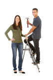 Couple With Stepladder Ready To Improve Home Royalty Free Stock Images