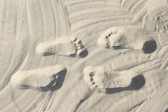 Couple steps on the sand. A couple steps on white beach sand Stock Photography