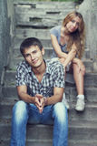 Couple on the stone stairs Stock Photography