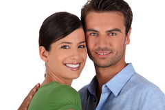 Couple stood with faces touching Stock Photo