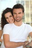 Couple stood by railing Stock Image
