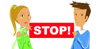 Couple with STOP sign- vector illustration Stock Photos