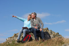 Couple Stopping For Lunch On Countryside Walk Stock Images