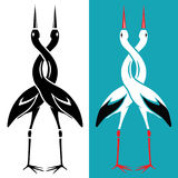 Couple of storks embracing with a twisted neck. Love affair logo Royalty Free Stock Photo