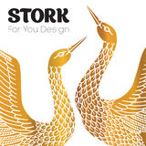 Couple of storks. Love affair logo. Stock Photography