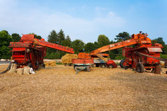 Couple of straw balers royalty free stock photography