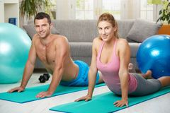 Couple streching abdominal Stock Photos